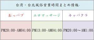 台湾台北風俗営業時間まとめ情報
